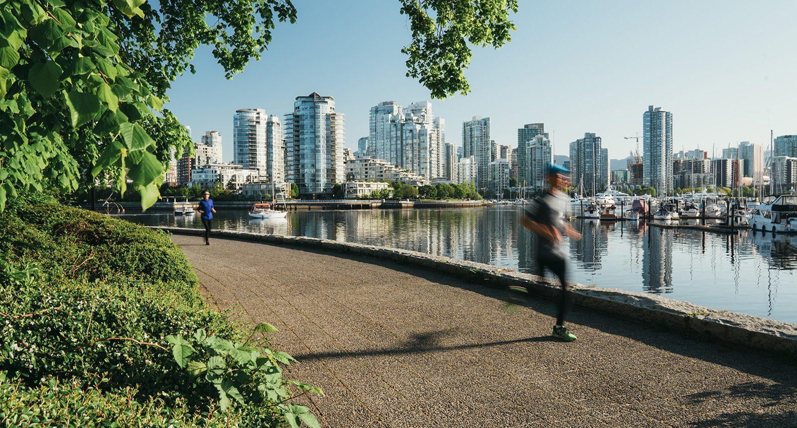 Runners on the False creek sea wall