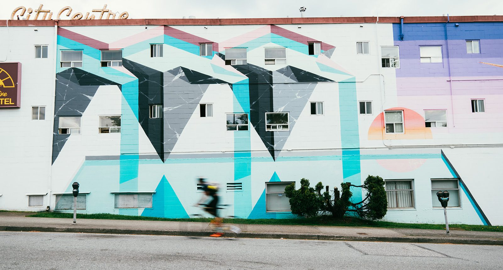 Main street building mural art